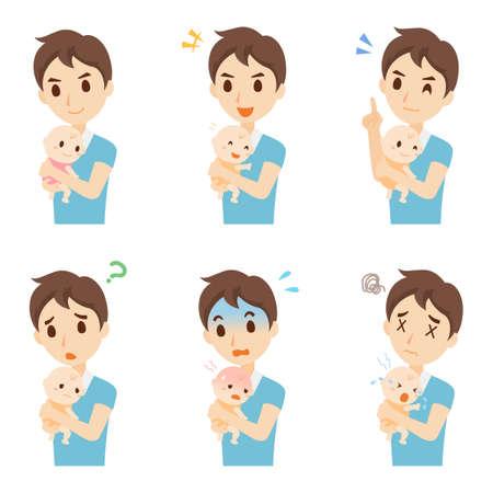 Parenting Male Facial Expression Set