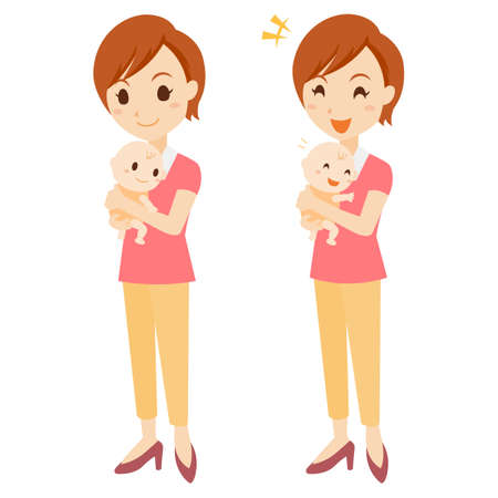 Parenting Female Facial Expression Whole Body Set Illustration