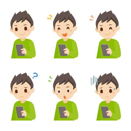 Boy using Mobile Phone Facial Expression Pose