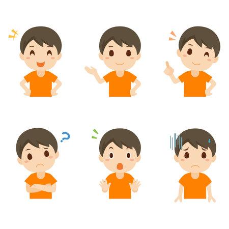 Boy Toddler Facial Expression Pose Illustration