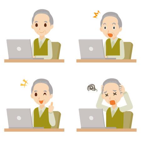 Old Man using PC Pose Set