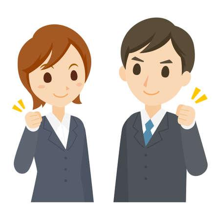Men and Women In Suits Job Hunting Guts Pose Vector Illustratie