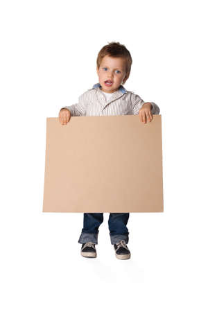 little boy holding a board photo