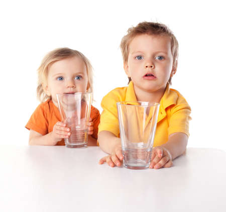 Little children hold glass