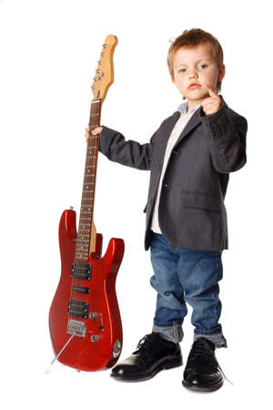 Little boy with electric guitar on white background Zdjęcie Seryjne - 18209169