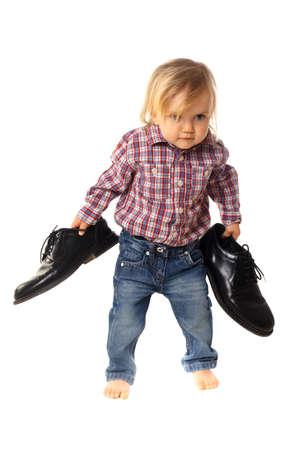 big foot: little girl has big shoes
