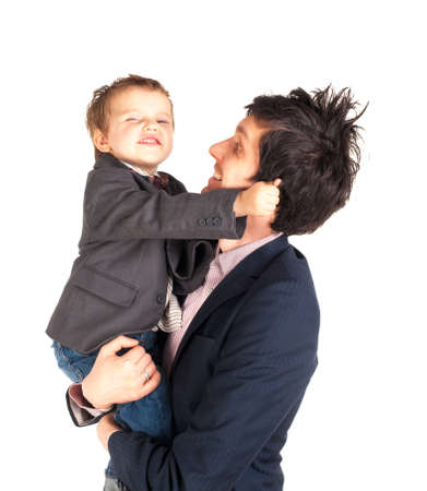 Man and little boy isolated on the white photo