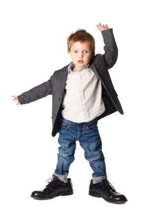 office shoes: little boy in the big dance shoes Stock Photo
