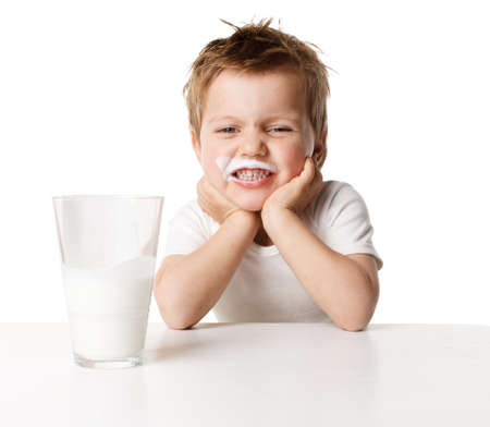 milk jugs: Child drinking milk Stock Photo