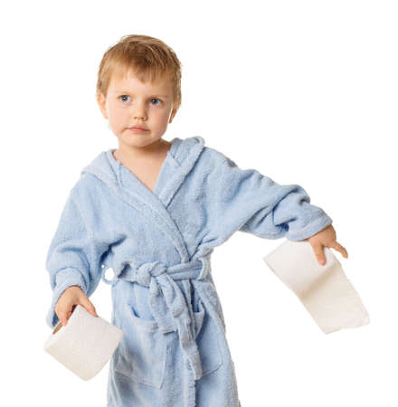 Smiling little boy standing with roll of toilet paper, isolated on white Stock Photo - 18623493