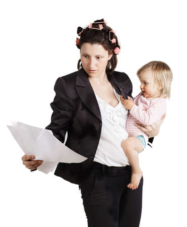 baby in suit: Business woman holding a baby  Isolated over white background