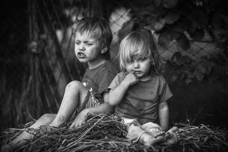 boy and girl in the hay photo