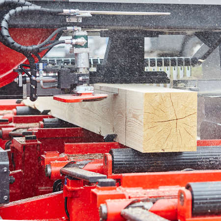 lumber mill: Sawing boards from logs