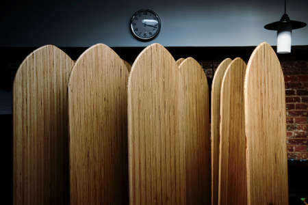 Yoga studio. Yoga boards. Ballans on yoga boards. Stock Photo
