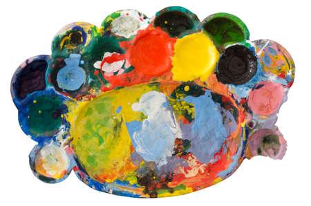 daubs: Vibrant multi-coloured artists oil paint palette