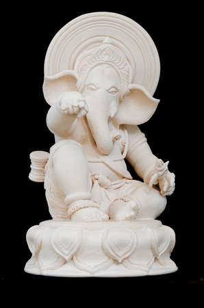 Ganesha Sculpture in straight face pose with hand pointing