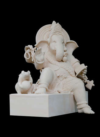 Ganesha Sculpture in straight face pose with rat