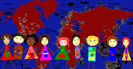 chain of kids in fromt of a world map Stock Photo