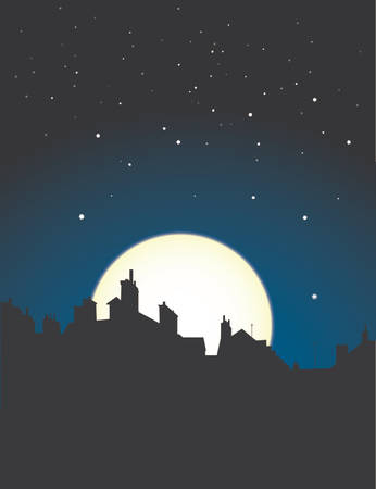 silouettes: village rooftops silouettes on moon and stars sky background