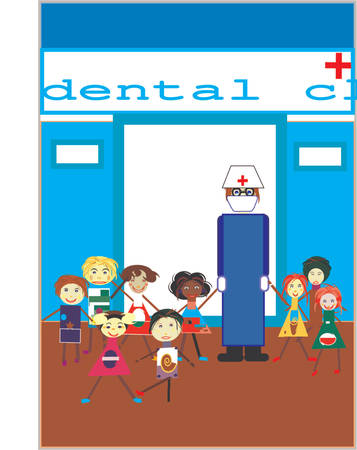 kindergarden: group of kids with a dentist doctor Illustration