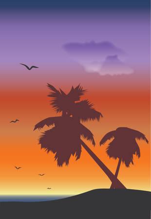 palmtrees: paisaje marino con palmtrees y silouettes de las gaviotas en la salida del sol Vectores