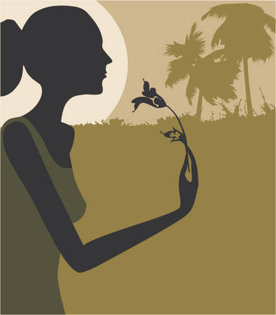 woman smelling a flower in moonlight Stock Vector - 495366