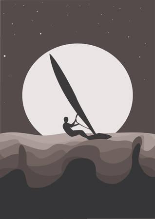 surfer silhouette: wind surfer silhouette in moonlight