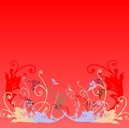stilish: floral design on red background Stock Photo