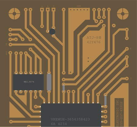 backside: hand drawn illustration of a backside circuit board