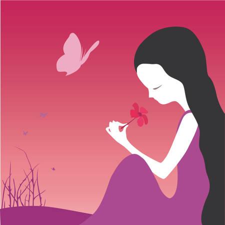 little girl smelling a flower Stock Vector - 509662