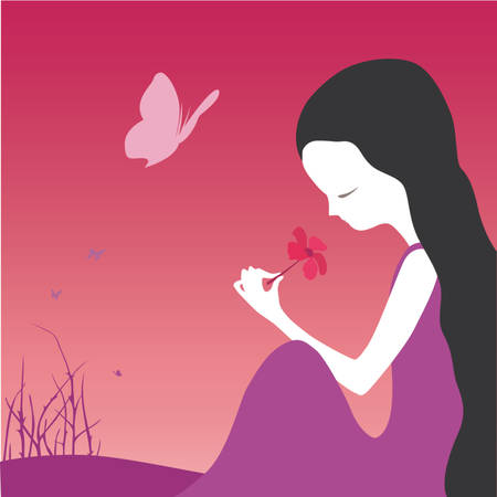 little girl smelling a flower Illustration