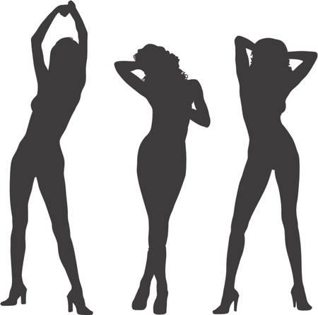 erotic fantasy: three female model silhouette posing Illustration