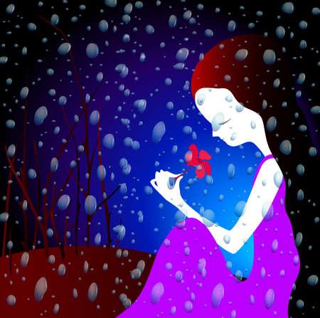 inlove: girl in the summer rain Stock Photo