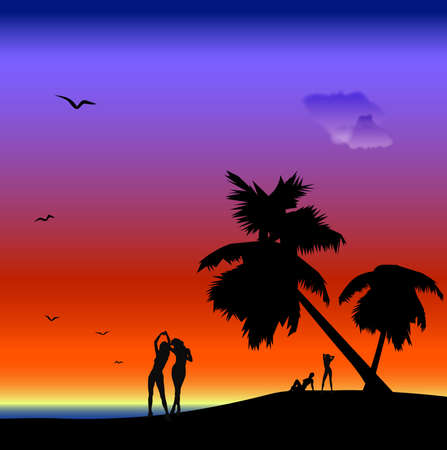 seascape with women silhouettes, palm-trees and seagulls photo