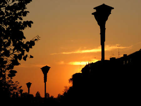 urban scape at sunset photo