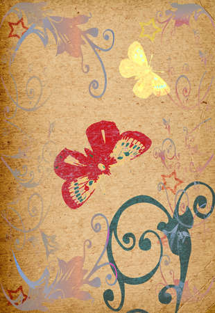 brown rice: butterfly and flowers on textured background
