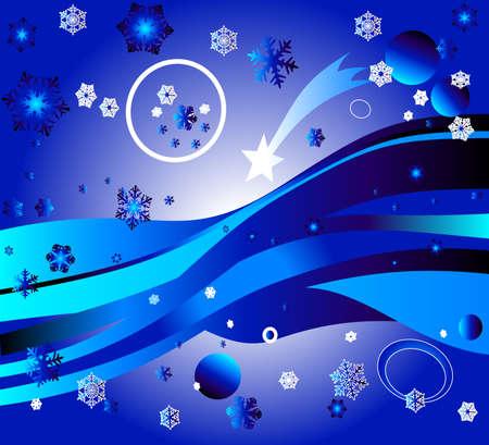 magic landscape with stars, snowflackes, rainbow, planets photo