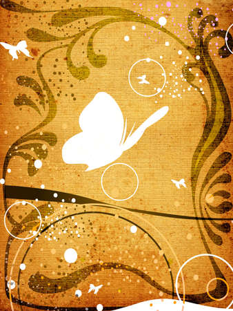 discolored: retro design, butterfliesand floral frame on textured background Stock Photo