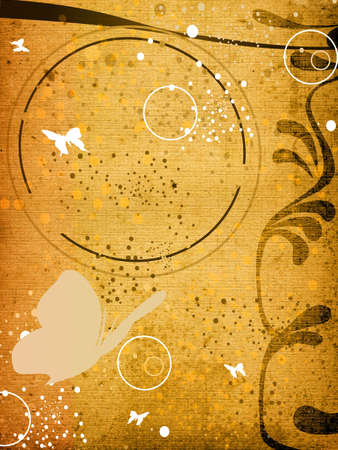 creative design with butterflies, circles and bubbles photo