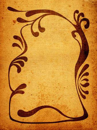 grunge floral design, vintage decorative frame in floral shape photo