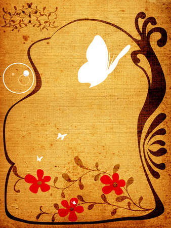 creative design with floral frame, butterflies and circles photo