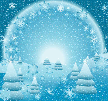 snow falling, fantasy christmas landscape, creative illustration illustration