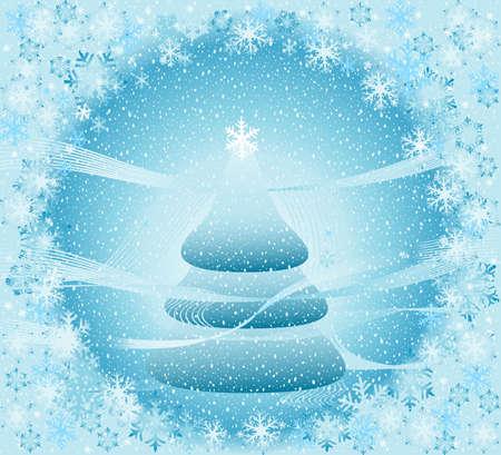 snow falling over a fir tree, winter landscape; creative illustration illustration