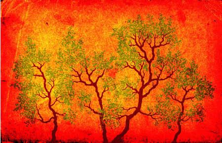 grunge design, trees
