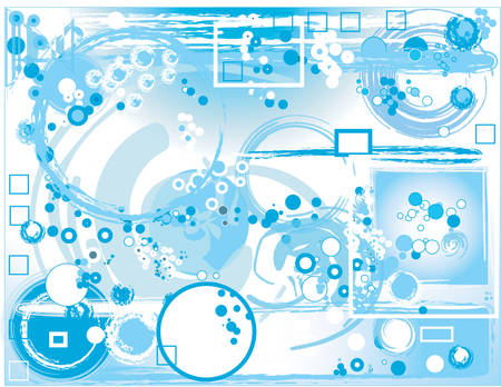 blue abstract composition with circles and rectangles Vector