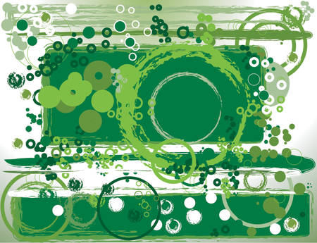 manic: green abstract composition with circles and rectangles