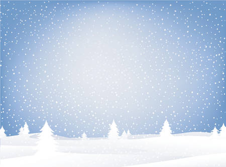 seasonable: landscape in wintertime with falling snow Illustration