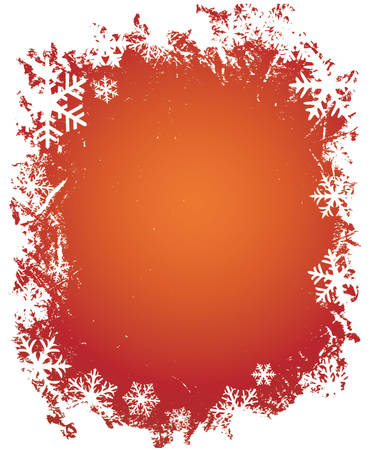 grunge decorative frame with snowflakes, ideal for christmas cards