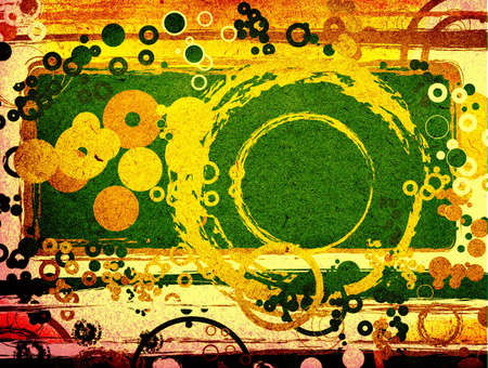 manic: abstract green composition with circles, grunge style design