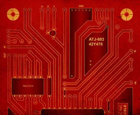 backside: grunge design, backside circuit board